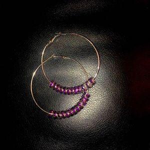 Silver/purple gemstone hoops